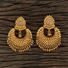 208683 Antique Chand Earring With Matte Gold Plating