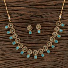 208689 Antique Delicate Necklace With Mehndi Plating