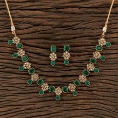 208690 Antique Choker Necklace With Mehndi Plating