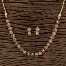 208691 Antique Choker Necklace With Mehndi Plating