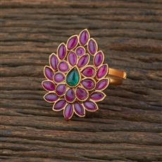 208693 Antique South Indian Ring With Matte Gold Plating