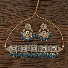 208694 Antique Choker Necklace With Mehndi Plating