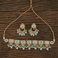 208695 Antique Choker Necklace With Mehndi Plating