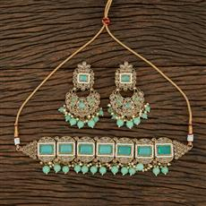 208696 Antique Choker Necklace With Mehndi Plating