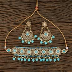 208697 Antique Choker Necklace With Mehndi Plating