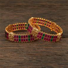 208701 Antique Temple Bangles With Matte Gold Plating