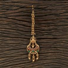 208703 Antique Chand Tikka With Matte Gold Plating