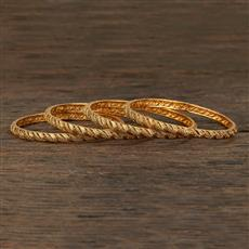 208712 Antique Plain Bangles With Gold Plating