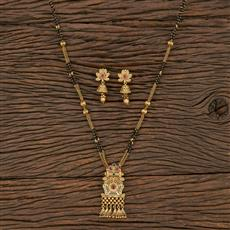 208730 Antique Classic Mangalsutra With Matte Gold Plating