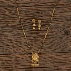208733 Antique Classic Mangalsutra With Matte Gold Plating