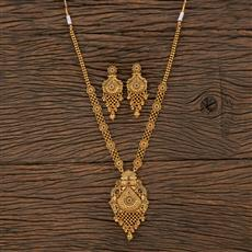 208734 Antique Peacock Necklace With Matte Gold Plating