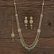 208737 Antique Long Necklace With Mehndi Plating