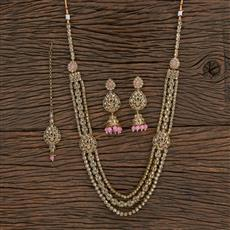 208738 Antique Long Necklace With Mehndi Plating