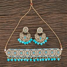 208741 Antique Choker Necklace With Mehndi Plating