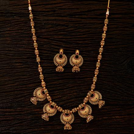 22299 Antique Long Necklace with matte gold plating