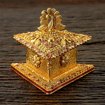 22561 Antique Classic Sindoor Box with gold plating