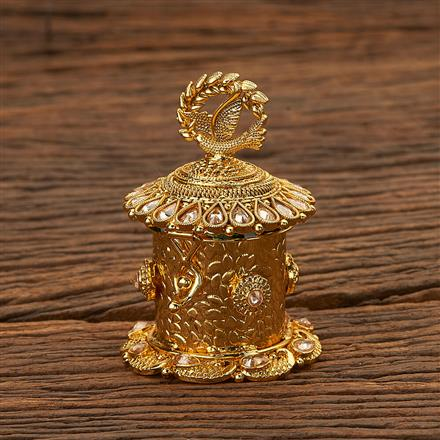 24099 Antique Classic Sindoor Box with gold plating