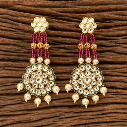 300023 Kundan Classic Earring with gold plating