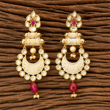 300030 Kundan Chand Earring with gold plating