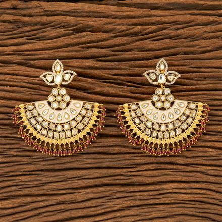 300033 Kundan Classic Earring with gold plating
