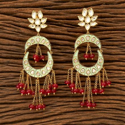 300038 Kundan Chand Earring with gold plating