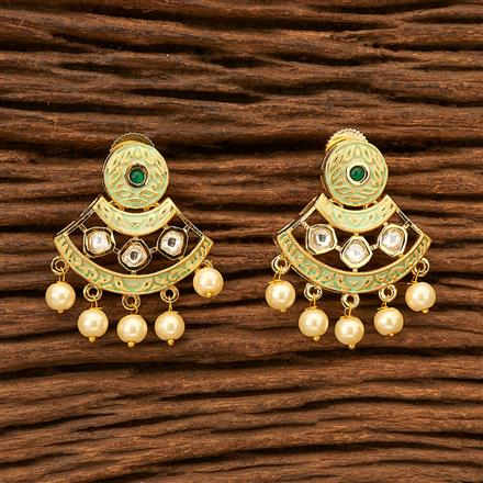 300075 Kundan Delicate Earring with gold plating
