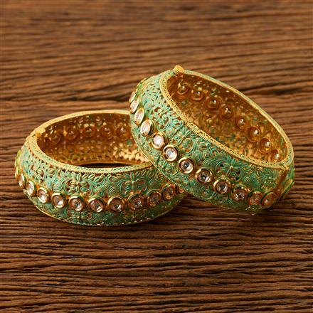 300093 Kundan Openable Bangles with gold plating
