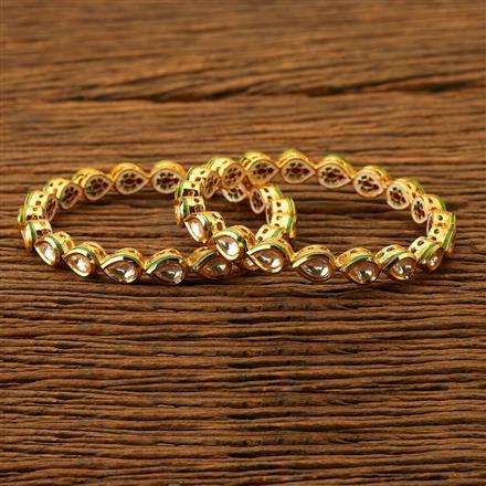 300094 Kundan Classic Bangles with gold plating