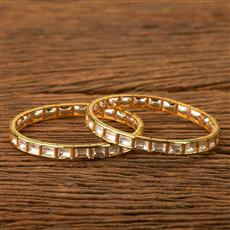300097 Kundan Classic Bangles with gold plating