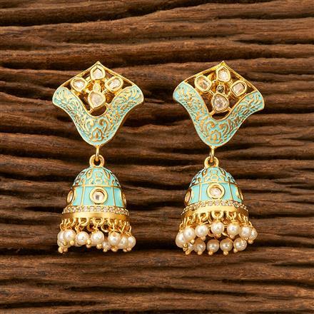 300146 Kundan Jhumkis with gold plating
