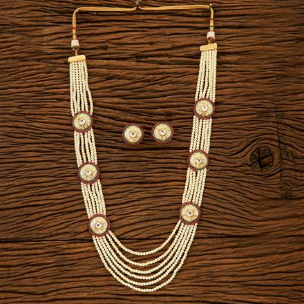 300161 Kundan Long Necklace with gold plating