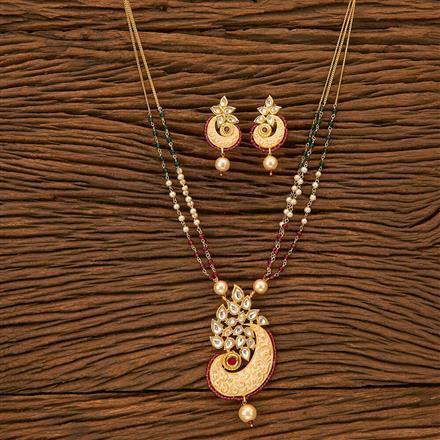 300166 Kundan Mala Pendant Set With Gold Plating