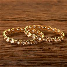 300176 Kundan Classic Bangles with gold plating