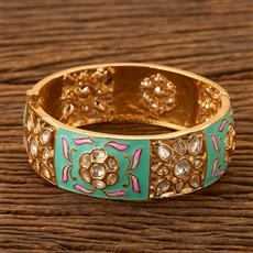 300181 Kundan Openable Bangles with gold plating