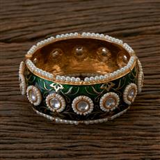 300196 Kundan Openable Bangles with gold plating