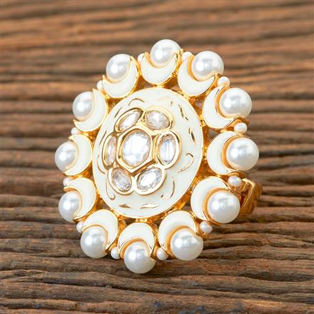 300221 Kundan Classic Ring With Gold Plating