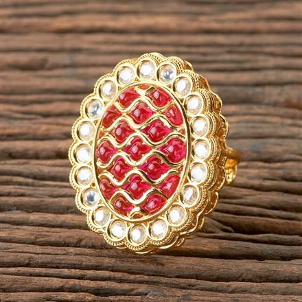 300259 Kundan Classic Ring With Gold Plating