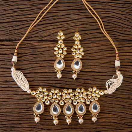 300263 Kundan Choker Necklace With Gold Plating