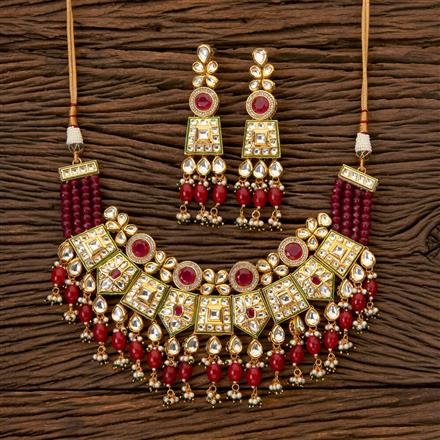 300268 Kundan Classic Necklace with Gold Plating