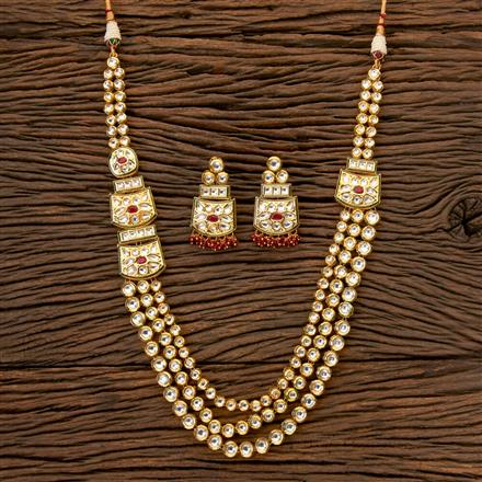 300287 Kundan Long Necklace with Gold Plating