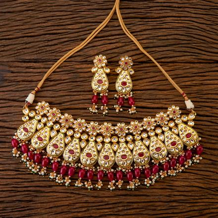 300295 Kundan Choker Necklace with Gold Plating