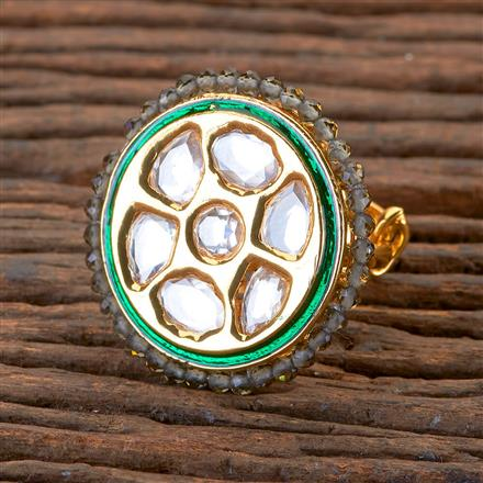 300296 Kundan Classic Ring with Gold Plating