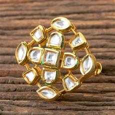 300310 Kundan Classic Ring with Gold Plating