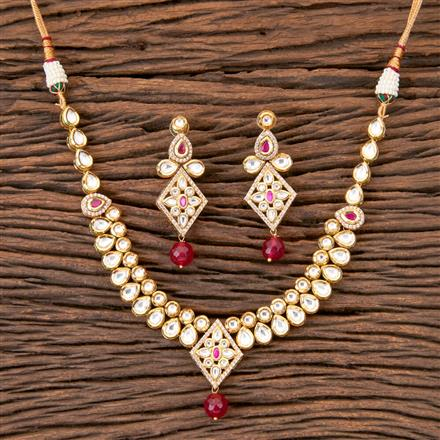 300332 Kundan Fusion Necklace with Gold Plating