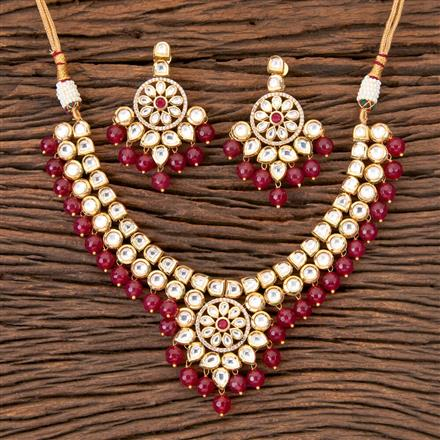 300334 Kundan Fusion Necklace with Gold Plating
