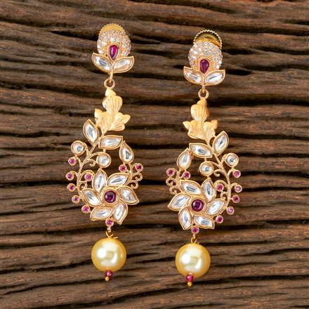 300337 Kundan Classic Earring with Matte Gold Plating