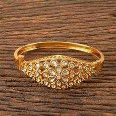 300339 Kundan Openable Kada with Gold Plating