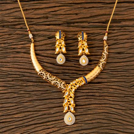 300342 Kundan Classic Necklace with Matte Gold Plating