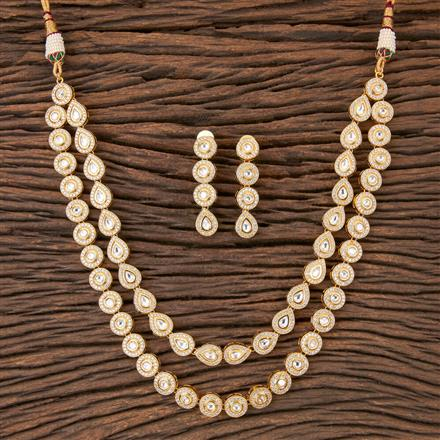 300360 Kundan Classic Necklace with Gold Plating