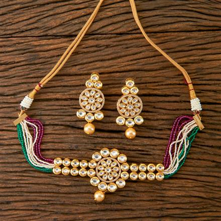 300375 Kundan Choker Necklace with Gold Plating